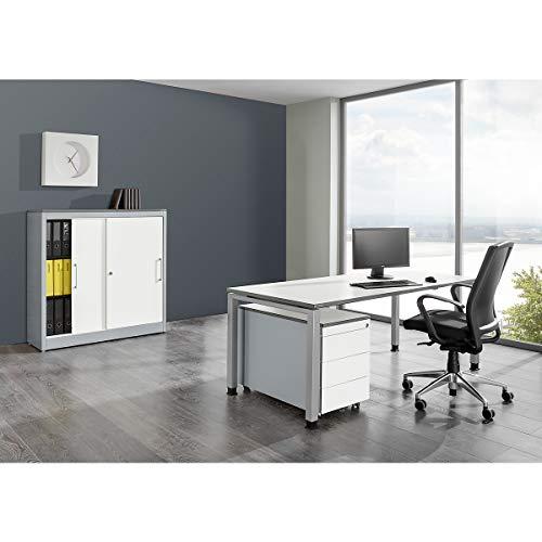Komplettbüro ARCOS - Schreibtisch, Schiebetürenschrank, Rollcontainer mit 3 Schüben - weißalu / reinweiß - Büro Büroeinrichtung Büroeinrichtungen Büromöbel Komplettangebot Komplettbüro Komplettbüros Komplettset Komplettsets