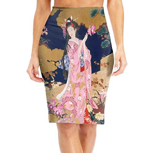 MrRui Japanse Geisha Meisje Roze Jurk Dames Mode Gedrukt Potlood Rok