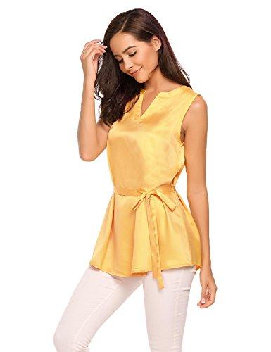 ACEVOG Tops Damen Armlos Shirt V-Ausschnitt Bluse Tunika mit Gürtel Oberteil Tank in 8 Frabe