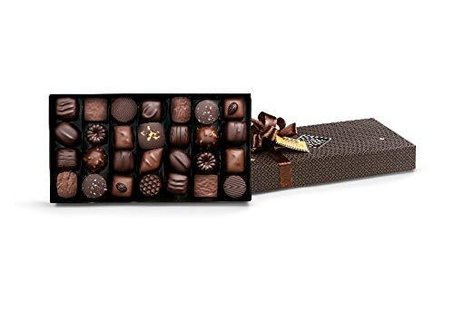 Michel Cluizel - Schachtel mit 28 Schokoladen, dunkler Schokolade und Milch, 305-Gramm-Packung, Praline, Ganache, Karamellfondant