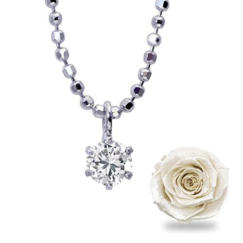 [シアーズ] Sears ネックレス レディース 1粒 ダイヤモンド 6本爪 プリザーブドフラワー ボックス 付 プラチナホワイト vp-hi01ct-cb-1218-01