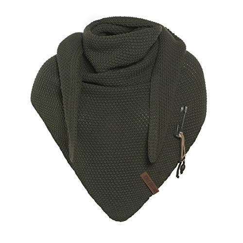 Knit Factory - Dreiecksschal Coco - Damen Strickschal mit Wolle - Hochwertige Qualität - XXL Schal - 190 x 85 cm - Khaki