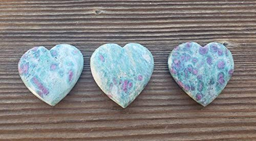 [A&S Crystals] Natural Ruby in FUCHSITE Gemstone Puffy Heart 30-35mm
