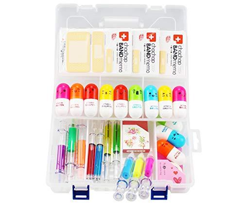 6 Spritzen Textmarker, 4 Spritzen Stifte, 12 Kapsel Stifte, 3 Pflaster Klebrige Notizen, 1 Kunststoff-Aufnahmekasten und 2 süße Washi Tapes