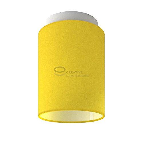 Fermaluce: wand- of plafondspot in wit metaal met Helder Geel Canvas Cilinder Lampenkap Ø 15 cm h18 cm
