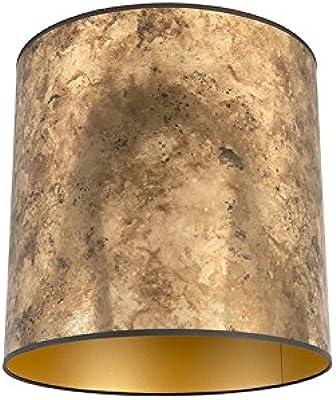 QAZQA Algodón y poliéster Pantalla bronce/oro 40/40/40, Redonda/Cilíndrica Pantalla lámpara colgante,Pantalla lámpara de pie: Amazon.es: Iluminación