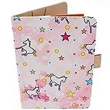 Porta Libretto Sanitario Neonato - Motivo Unicorno - Formato A5 15x20 cm - Alette Per Riporre Prescrizioni