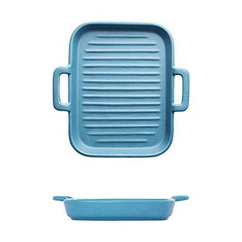 Teglia Rettangolare, Teglia da Forno in Ceramica per Uso Domestico, Pirofila da Cucina, Piatto da Portata Quadrato per Macedonia, Lasagne, Stoviglie per Arrosti Quadrato/Blu