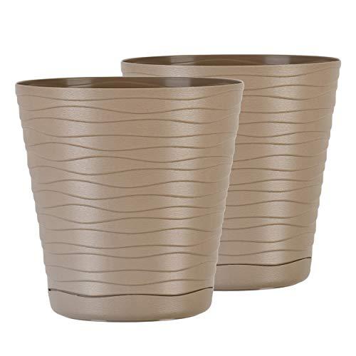 TYMAR Blumentopf mit Untersetzer, 2er-Pack, runde Form, Pflanzgefäß, Pflanzkübel für Innen, Pflanztopf aus Kunststoff, Leichter, Doppelpack,mit 3D-Wellendesign ( 11 cm, Beige)