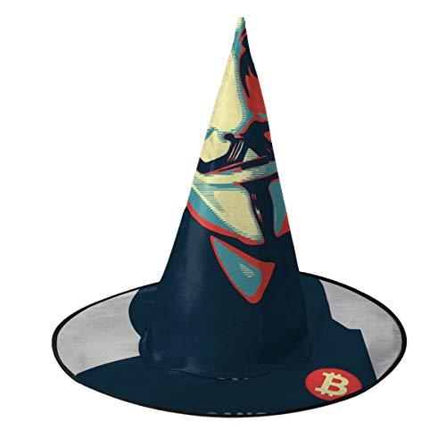 OJIPASD - Gorro de Bruja annimo de Renacimiento V para Vendetta Believe Bitcoin, Disfraz Unisex para Halloween, Halloween, Navidad, Carnaval, Fiesta