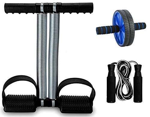 LIVOX Tummy Trimmer, Abs Roller, Skipping Rope for Home Workout Gym Combo Kit Home Gym Kit