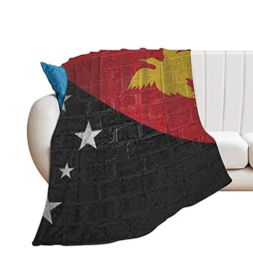 Flanell-Fleece-Decke für Zuhause, Büro, Reisen, Couch, Sofa, Camping, Flagge von Papua, Neuguinea, weich, warm, gemütlich, Plüschdecke, 130 x 150 cm