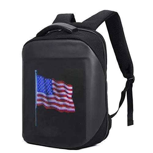 Smart Pixel LED Backpack Intelligent Programmable LED Display Multi‑Function Ergonomic Laptop Backpack Customizable Digital PIX Display WIFI APP Control Waterproof School Bookbag for Boy Girl Gift B