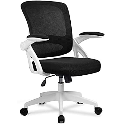 Comhoma Office Chair Ergonomic Desk Chair Mesh Computer Chair with Flip Up Armrest Mid Back Task Home Office Chair Swivel Chair with Smooth Casters White from COMHOMA