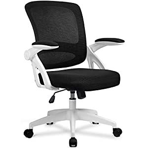 Breathable Mesh Mid Back:Design of a breathable fabric mesh at the back that helps to keep you cool during your work,and supportive high backand prevents lower back pain. Premium Flip Up Armrests:The office chair comes with flip up arms making it eas...