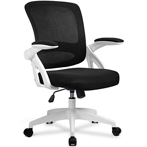 Office Chair Ergonomic Desk Computer Chair Mesh Computer Chair with Flip Up Arms Lumbar Support and Mid Back Task Home Office Chair White