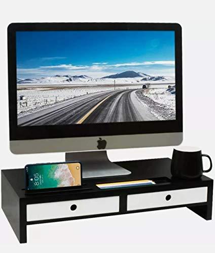 Monitorständer Bildschirmständer Bildschirmerhöhung Tischaufsatz Monitorerhöhung mit 2 Schubladen & Fächern