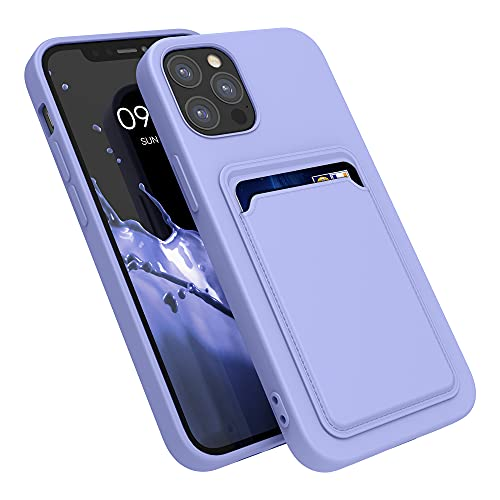 kwmobile Funda con Tarjetero Compatible con Apple iPhone 12/12 Pro - Carcasa Protectora de TPU Suave - Lila