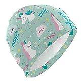 ALINLO Gorros de natación Divertidos y Bonitos con diseño de Unicornio y Unicornio, Coloridos, Impermeables, para Adultos, Hombres, Mujeres, jóvenes y niños
