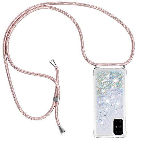 YuhooTech Funda con Cuerda para Samsung Galaxy S20 Plus - Bling Quicksand de Cuello Cadena Cordón Carcasa - Transparente TPU Protección Collar Correa Colgante Case Glitter Liquida Gradiente Cover