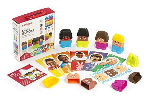 Miniland- Set de Personajes con Piezas Intercambiables para Trabajar Las emociones, Multicolor (32350)