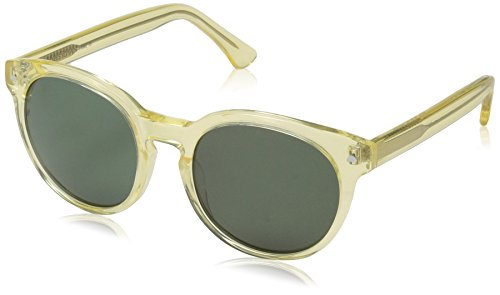 Obsidian Sunglasses for Women or Men Retro Round Frame 08, Vintage Yellow, 50 mm