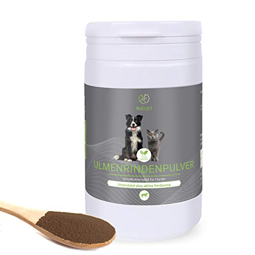 Nutrani Ulmenrindenpulver für Hunde | 100g – 100% natürliches Pulver der amerikanischen Ulmenrinde – zur Unterstützung Einer gesunden Darmflora + Förderung des Wohlbefindens durch Magenschutz