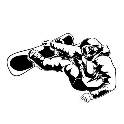 Auto-Aufkleber, Aufkleber, 17,1 cm x 11 cm, interessante extreme Übung, Snowboarden, schwarz/silber, Silhouette, Vinyl-Autoaufkleber, Autoaufkleber, Aufkleber (Farbe Name: Schwarz)