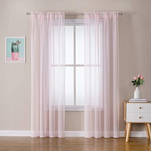 MIULEE 2er Set Sheer Voile Vorhang Stangedurchzug Transparente Gardine aus Polyester Fensterschal Transparent Wohnzimmer Luftig Dekoschal für Schlafzimmer 140 X 225 cm (B x H), Rod Pocket Baby Rosa
