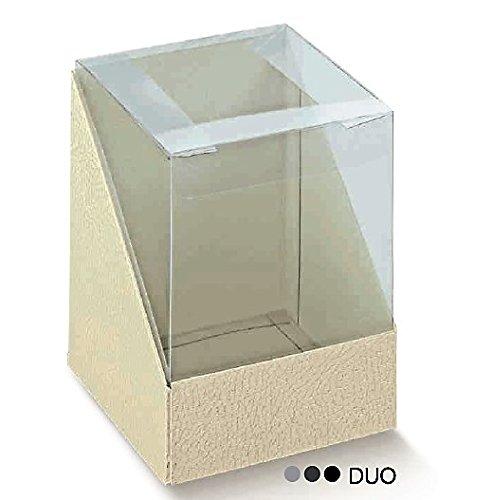 Le gemme di Venezia Caja transparente y cartón piel blanca Duo PVC 10 x 10 cm Alto 9 – Caja regalo boda testigo Made in Italy 14431
