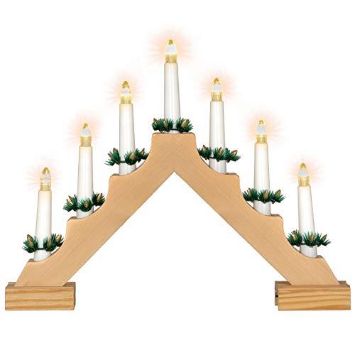Nipach GmbH Schwibbogen aus Holz 7 LED Lichterbogen Dreieckform Leuchtfarbe warm-weiß Leuchtbogen Weihnachtsbeleuchtung Weihnachtsdeko Timer Batterie Xmas