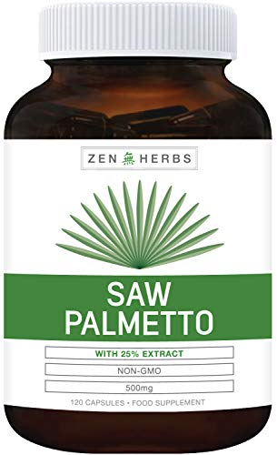 Extra Strength Saw Palmetto 25% Extract (NON-GMO) 120 Capsule - Support Prostate Health to Reduce Frequent Urination - DHT Blocker Prevent Hair Loss - 500mg Natural Berry Supplement for Men - No Pills