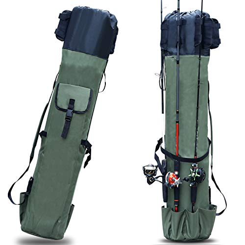 Sougayilang Fishing Rod Case Organizer Pole Storage Bag Fishing Rod and Reel Carrier Organizer for Travel, Gift for Father, Boyfriend and Family-Green