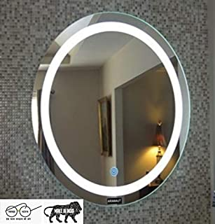 ARANAUT Glass Led Mirror (21 x 21 inch, White)