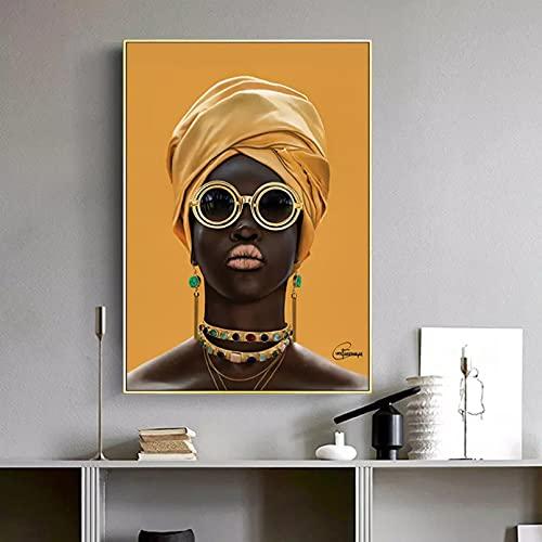 N/A Pintura De Decoración del Hogar Impresión Imagen Cuadros Modernos De Mujer Negra con Gafas De Sol, Pintura En Lienzo, Carteles E Impresiones para Sala De Estar, Porche, Pared del Hogar, Art Deco