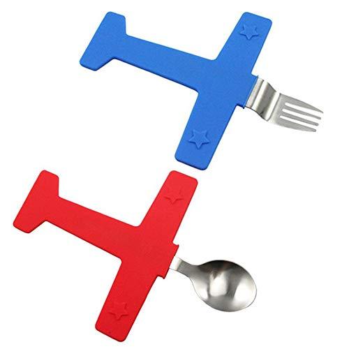 EQLEF Creativo de acero inoxidable de acero cuchara tenedor cuchara conjunto de mesa de niños