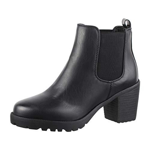 Elara Damen Stiefeletten Ankle Boots Chunkyrayan Neue-KA523sl Black-39
