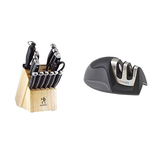 J.A. Henckels International 13550-005 Statement Knife Block Set, 15-pc, Light Brown & KitchenIQ 50009 Edge Grip 2-Stage Knife Sharpener, Black