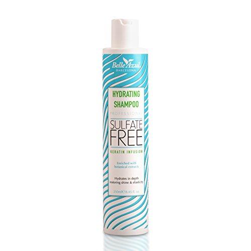 Belle Azul feuchtigkeitsspendendes Shampoo, Mit Keratin und pflanzlichen Wirkstoffen angereichert um das Haar von der Wurzel an wirksam zu stärken, Paraben- salz- und sulfatfrei, 250ml.