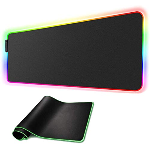 RGB Gaming Mouse Pad Large XL Extended LED Computer Laptop Keyboard Mouse Pad Mat for Gamer Oversized Big Mousepad Waterproof with Non-Slip Rubber Base Durable Stitched Edges, 31.5'X 11.8' (Model 03)