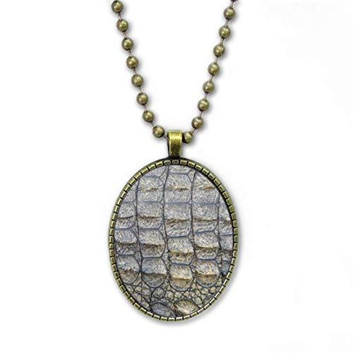 Collar de piel de cocodrilo con diseño abstracto, colección de joyas de cadena vintage