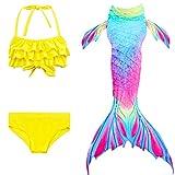 Le SSara 2018 Nuevo Sea-Criada Cosplay Swimwear Mermaid Shell Swimsuit 3pcs Bikini Sets (140, DH52+WJF47)