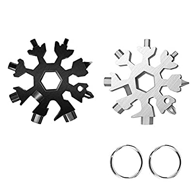 18-in-1 Snowflake Multi-Tool, Stainless Steel Snowflake Keychain Tool - Snowflake Screwdriver Multitool Card, Valentine's Day Best Gifts for Him Husband Men Boyfriend Boys (1black+1silver)