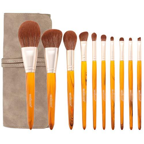 Faire Premium Brosses Kit Professionnel fibres synthétiques Fondation Blending fard à joues Correcteur crème liquide poudre visage yeux Brosses cosmétiques Kit avec sac (Size : A-10pcs+Storage Bag)