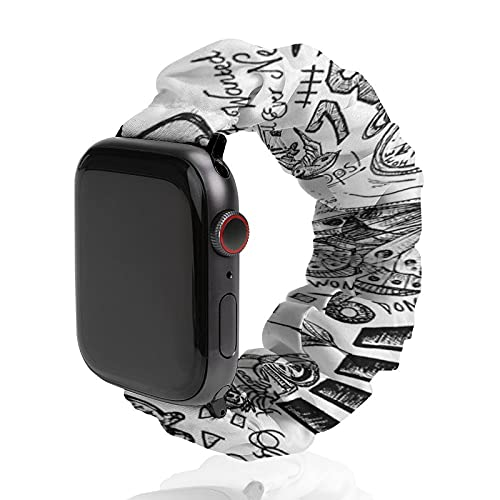 Cinturino da uomo e donna compatibile con Apple Watch 42 mm/44 mm, morbido elastico elastico di ricambio per iWatch Series SE 6/5/4/3/2/1, One Direction tatuaggi