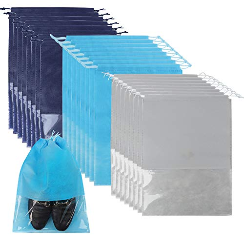 SGHUO 24pcs Travel Shoe Bags, Non-Woven Shoe Storage Organizer with Clear Window for Men and Women, 3 Colors