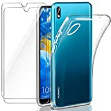 Leathlux Coque Huawei Y5 2019 Transparente + 2 × Verre trempé Protection écran,...