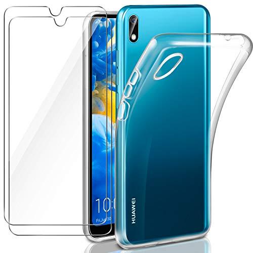 Leathlux Huawei Y5 2019 Hülle + [2 Pack] Panzerglas, Huawei Y5 2019 Durchsichtig Hülle Transparent Silikon TPU Schutzhülle Premium 9H Gehärtetes Glas für Huawei Y5 2019
