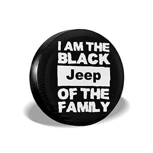 Spare Tire Covers I Am The Black Jeep Of The Family Wheel Covers Rv Tire Covers Sun-proof Weather-proof For Jeep Trailer RV SUV Truck Camper Travel Trailer Accessories 14 15 16 17 Inch(17inch)