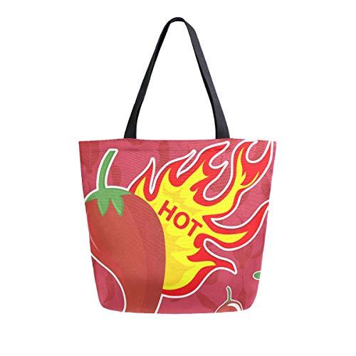 LUPINZ Set von Chili Tragetaschen Reisetasche Schultertasche für Einkaufen Frauen Handtasche